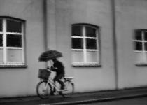 Fietser in regen